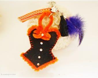 Porte clé Sorcière Halloween, porte clef noir et orange, porte-clés corset noir robe bustier Halloween, accessoire  décoration Halloween,