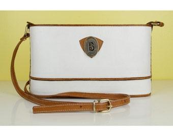 Vintage White Tan Leather Crossbody Bag Purse