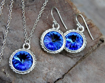 Sapphire & Silver Necklace and Earring Set - Deep blue crystal rivoli on sterling silver chain and ear hooks - free shipping USA
