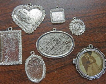 Silver Findings - Nunn Designs - Pendant Findings:  Heart - Squares - Rectangle - Rounds - Locket - Ovals