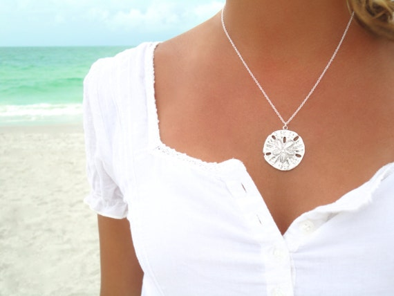 Sand dollar necklace silver sand dollar pendant necklace sand like this item aloadofball Images