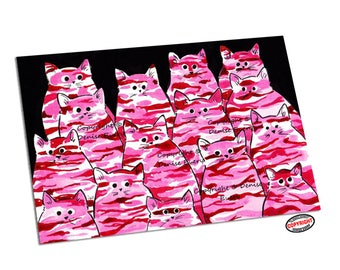 Pink Camo Kitties Cat Art Print Abstract Cat Camo Camouflague Cats ACEO Cat Art cat gift cat lover ACEO ATC cat artwork by Denise Every