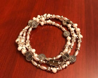 Pearl and Silver Magnetic Clasp Wrap Bracelet