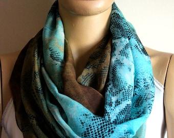brown blue green  infinity scarf  blue scarf, loop scarf,  Women scarf, Summer scarf, Scarves, Flowers scarf, Scarves, Scarf, Accessories