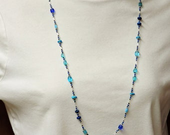 Long Necklace in Blue with Silver Accent ...  about 35 inches long