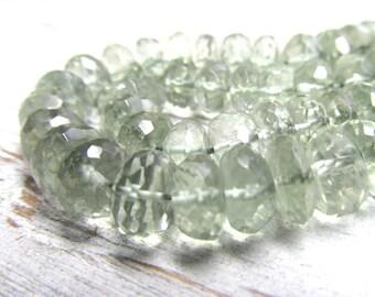 Perles de quartz 8 X 5mm Semi translucide péridot vert à facettes Quartz de rondelle - 12 pièces