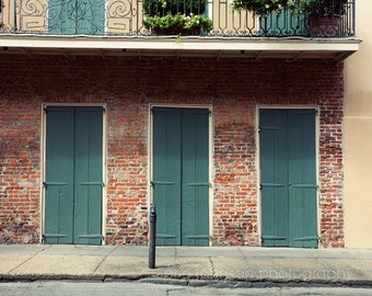 new orleans photography french quarter art building architecture green decor brick wall art Green Doors