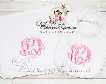 Newborn Set, Bib and Burp Cloth Set, Monogrammed Bib and Burp Cloth, Baby Girl Bib, Baby Shower Gift, Homecoming Gift Set