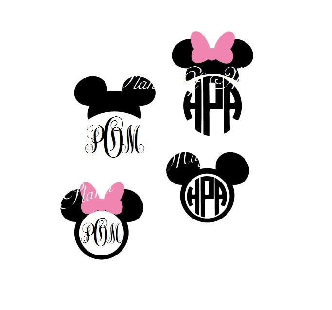 Mickey Mouse Svg File Mickey Mouse Monogram Minnie Mouse