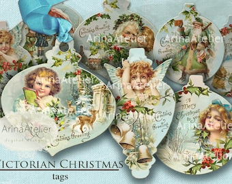 TAGS Victorian Christmas - Winter Collage tags - shabby chic collage - stickers - collage sheet - scrapbooking supplies - handmade supplies