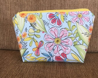 Pink and Yellow Spring flowers and insects - Pouch with Zipper