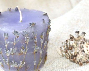Lavender candle Wedding decor mothers day gift party favors Floral candles centerpiece tea light lavender Scented wax Dried flower candle