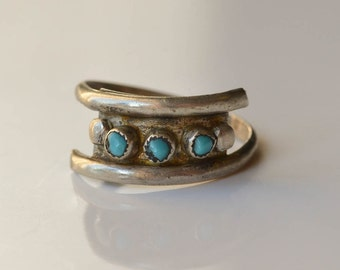 Turqoise Ring, Turquoise and Silver Rings Size 6