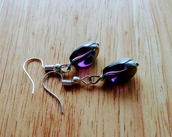 Purple and Silver Czech Glass Dangle Earrings