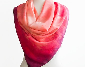 Gift for Mom- Red Silk scarf- square red scarf- Hand painted scarf- silk scarf square- scarf for women- Red neck scarf- Mothers day gift