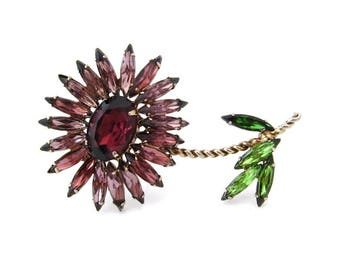 Vintage Blooming Flower Purple Rhinestones Brooch, Unsigned Floral Blossom, 1960s Costume Jewelry