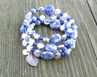 Sodalite and Silver, Gemstone Memory Wire Bracelet, Sodalite Cuff, Denim Blue, Shades of Blue, Silver Leaves, Blue Jeans Blue,