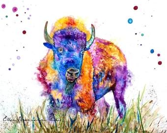 Colorful bison art: nursery decor Montana art print buffalo art bison artwork buffalo painting buffalo wall art bison wall art nursery decor