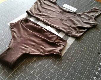 Lingerie Set - sheer lingerie -see through lingerie -stars -burnout velvet