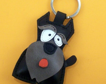 Sweet little black Schnauzer leather animal keychain - FREE Shipping Worldwide - Schnauzer Dog Bag charm