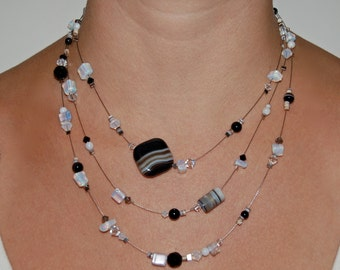 Three Strand Cloudy Black & White Agate Necklace