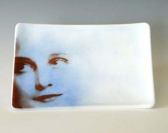 Luna Fused Glass Dish Handcrafted Plate Trinket White Blue Woman's Face