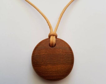 Hand Carved Teak Pendant Necklace