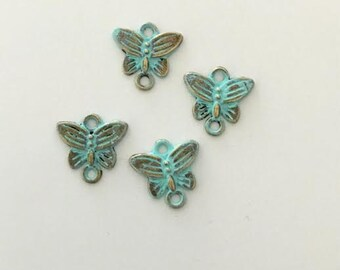 4 Patina Butterfly Connectors, butterfly charms, patina verdigris, 14mm x 6mm -USA ships quick