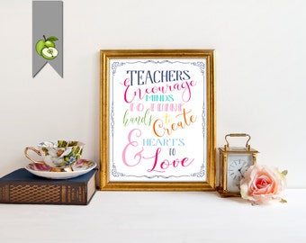 Teacher appreciation, teacher gift, classroom art, thank you teacher, typography art, teacher art print, printable, retirement gift