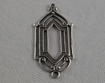 LuxeOrnaments Antique Sterling Silver Filigree Ornate Window Pendant (2 pcs) 28x13mm B699-VJS G-07005-S