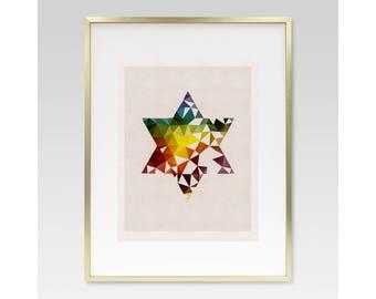 STAR OF DAVID- Judaica, Jewish, Hebrew, Wall Art, Print, Gift