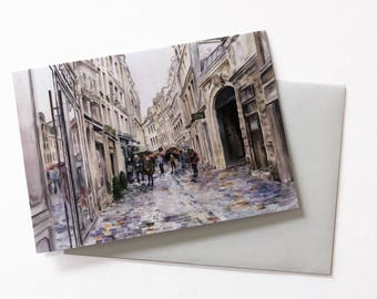 GREETING CARD! Paris Street in the Rain , Note Card with Envelope