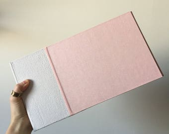 Instant Photo Guest Book and Album in Ivory Suede and Pink Book Cloth, Holds 150 images