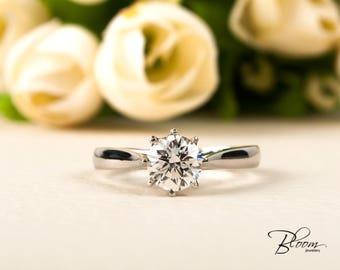 1.01 ct. One Carat Diamond Engagement Ring Platinum Engagement Ring Certified Diamond Ring Certified Engagement Ring Platinum Diamond Ring