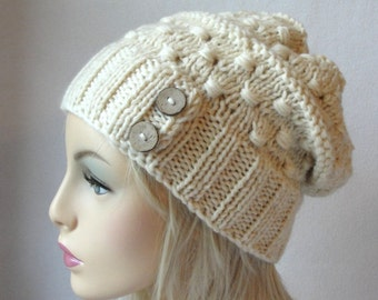 KNITTING PATTERN Knitted Hat Pattern,  Macaroni Beanie / Knit slouch beanie pattern,