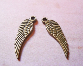 Angel Wing Charms Antiqued Bronze 10 pieces Double Sided Wings 17mm Bronze Angel Wings Wholesale Ornate Angel Wings Charms