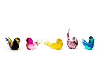 Set of Five Formia Murano Glass Birds