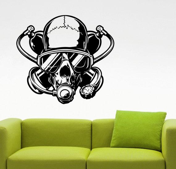 Buceo pared calcomanía Diver cráneo etiqueta Home diseño de