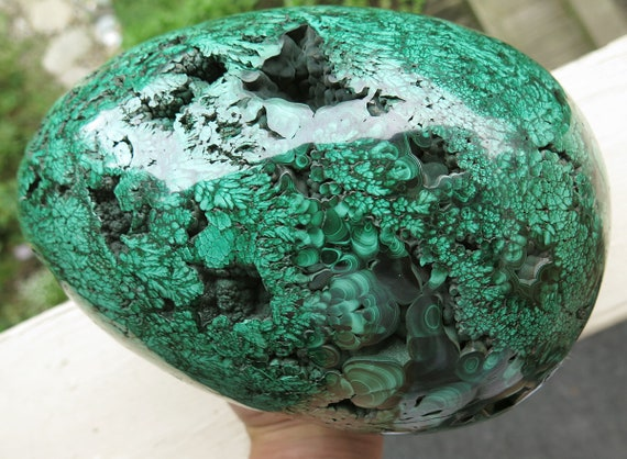 A remarkable 18.8 pound solid single piece Polished Malachite egg. Lubumbashi, Katanga (Shaba), Democratic Republic of Congo