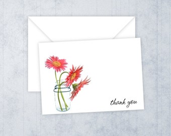 Daisies in a Mason Jar • Thank You Cards • Printed Thank You Notes • Bridal Shower • Flourish Thank You Cards •  All Occasion