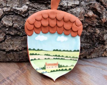 England in an Acorn, wall hanging