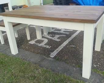 Chunky rustic reclaimed timber Dining Table 120cm, 130cm, 150cm, 180cm.