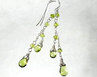 Genuine Peridot Earrings Peridot Drop Earring Green Cascade Earring August Birthstone