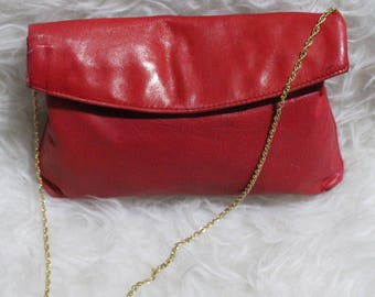 Darling Vintage Soft Red Leather Purse with Gold Chain Strap Made In Italy