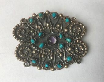 vintage matl style sterling brooch/pendant