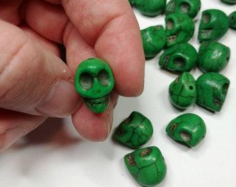 25 X 10mm green skull beads