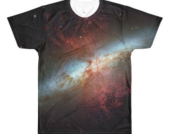 Starburst Galaxy All-Over Print TShirt - Real Hubble Image - Astronomy shirt - Galaxy shirt - Outer Space Astronomy Gift