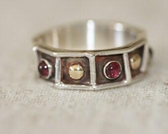 Garnet Ring, Handmade Ring, Sterling Silver Ring, Net Silver Ring, Garnet Stone Ring, Multistone Ring,