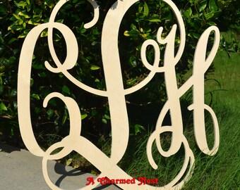"""35"""" Wooden Monogram - Unpainted Vine Script Monogram - Nursery Monogram - Wedding Guest Book - Monogram Wall Hanging - Wood Letters, Wooden"""