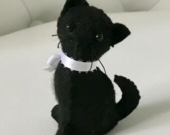 FREE US SHIPPING Cute Black Kitty Cat Stuffed Animal Crazy Gift Ooak Plush Plushie Soft Softie Kitten